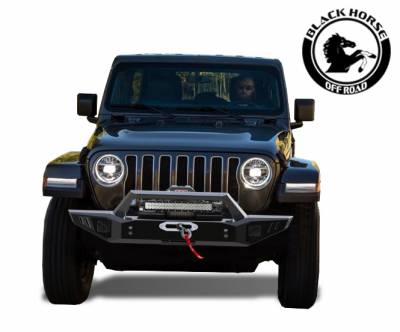 Front End Protection - Front Bumpers - Black Horse Off Road - Black Horse Armour Front Bumper Black Steel  AFB-WR19 for 2018-2019 Jeep Wrangler JL Protector
