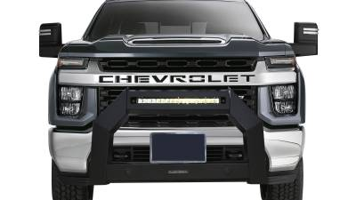 Front End Protection - Armour Bull Bar - Black Horse Off Road - A | Armour LED Bull Bar | Satin Black | AB-GM27 | With 20in LED Light Bar