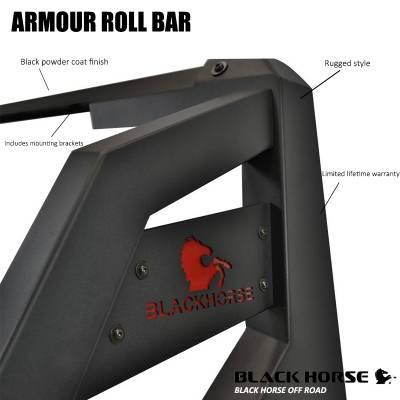 Black Horse Off Road - J | Armour Roll Bar Kit | Black | 50in LED Light Bar | ARB-NIFRB-KIT - Image 6