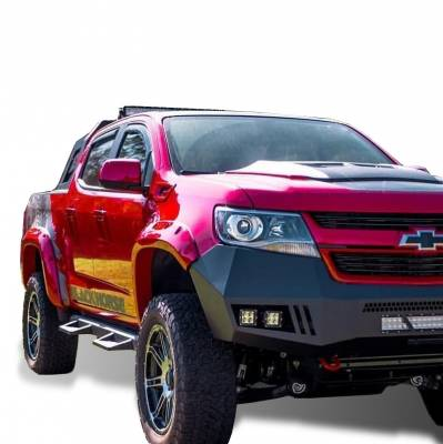 Bumpers - Front Bumper (With LED Lights) - Black Horse Off Road - B | Armour Front Bumper Kit | Black | With LED Lights (1x 20in light bar, 2x pair LED cube) | AFB-SI16-KIT