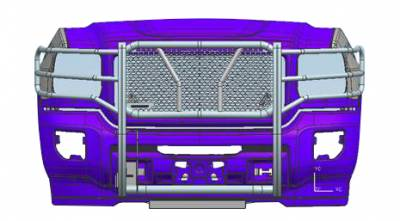 Black Horse Off Road - D | Rugged Grille Guard Kit | Black | With 20in Double Row LED Light Bar | RU-GMSI15-B-K1 - Image 1