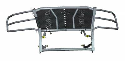 Front End Protection - Rugged Grille Guards - Black Horse Off Road - D | Rugged Grille Guard Kit | Black | With 20in Double LED Light Bar | RU-CHTA15-B-K1