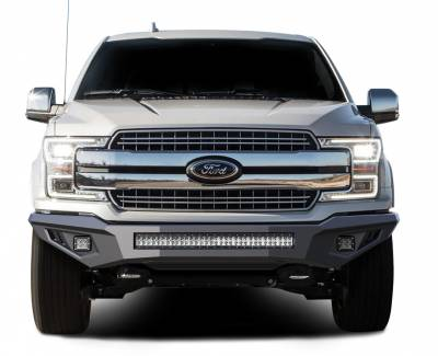 Bumpers - Front Bumper (With LED Lights) - Black Horse Off Road - B | Armour Heavy Duty Front Bumper Kit| Black | Includes 1 30in LED Light Bar, 2 sets of 4in cube lights | AFB-F117-K2