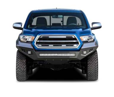 Bumpers - Front Bumper (With LED Lights) - Black Horse Off Road - B | Armour Heavy Duty Front Bumper Kit| Black | Includes 1 30in LED Light Bar, 2 sets of 4in cube lights | AFB-TU19-K1