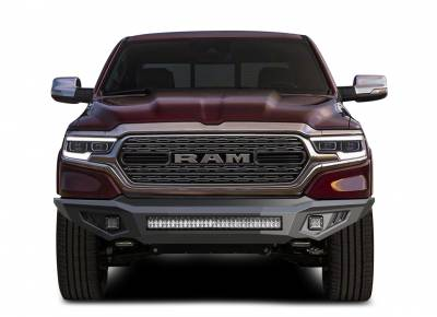 Bumpers - Front Bumper (With LED Lights) - Black Horse Off Road - B | Armour Heavy Duty Front Bumper Kit| Black | Includes 1 30in LED Light Bar, 2 sets of 4in cube lights | AFB-RA10-K1