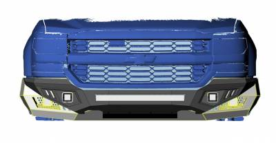 Black Horse Off Road - B   Armour Heavy Duty Front Bumper Kit  Black   Includes 1 30in LED Light Bar, 2 sets of 4in cube lights   AFB-RA16-K1 - Image 3