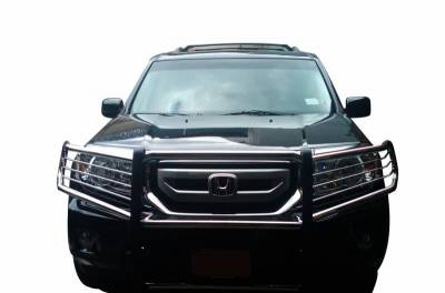 "Front End Protection - Grille Guard Kit  - Black Horse Off Road - D | Grille Guard Kit | Stainless | With Set of 7"" Red LED"