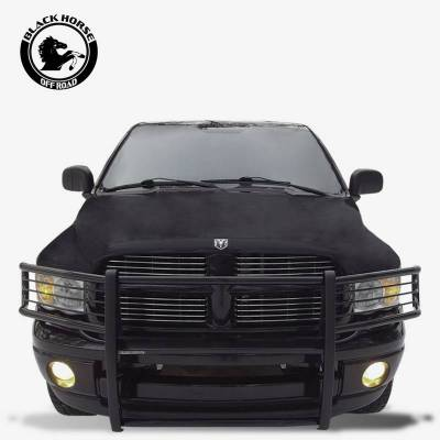 "Front End Protection - Grille Guard Kit  - Black Horse Off Road - D | Grille Guard Kit| Black | With Set of 7"" Black LED"
