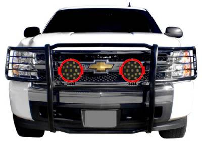 "Black Horse Off Road - D | Grille Guard Kit| Black | With Set of 7"" Red LED - Image 8"