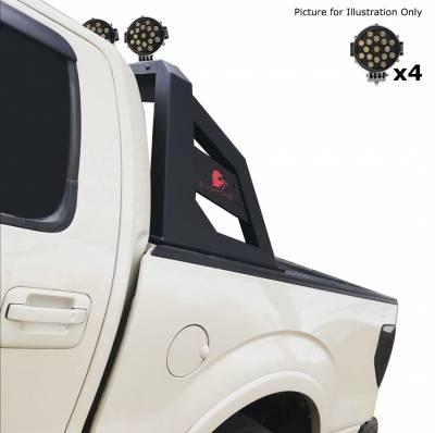 "Black Horse Off Road - J | Armour Roll Bar Kit | Black | with 7"" Black Round LED Lights|ARB-NIFRB-PLB - Image 3"