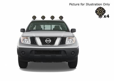 "Products - Roll Bars - Black Horse Off Road - J | Armour Roll Bar Kit | Black | with 7"" Black Round LED Lights 