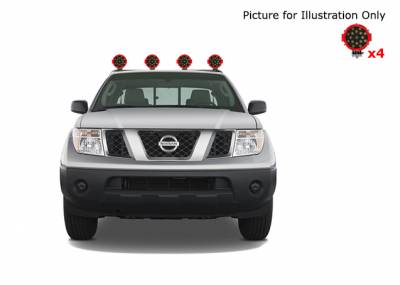 "Products - Roll Bars - Black Horse Off Road - J | Armour Roll Bar Kit | Black | with 7"" Red Round LED Lights 
