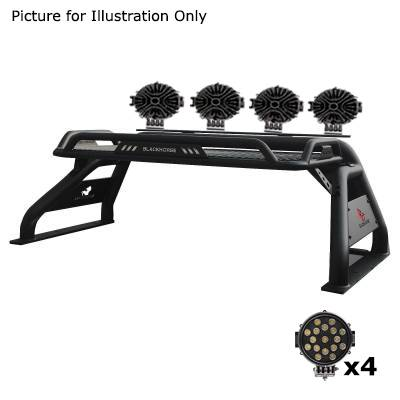 "Black Horse Off Road - J | Atlas Roll Bar | Black | Tonneau Cover Compatible |  W/ Set of 7"" Black LED | ATRB5BK-PLB - Image 4"