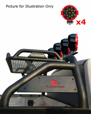 "Black Horse Off Road - J | Atlas Roll Bar | Black | Tonneau Cover Compatible |  W/ Set of 7"" Red LED | ATRB5BK-PLR - Image 4"