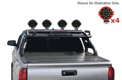 "Black Horse Off Road - J | Atlas Roll Bar | Black | Tonneau Cover Compatible |  W/ Set of 7"" Red LED | ATRB5BK-PLR - Image 2"