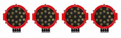 "Black Horse Off Road - J | Atlas Roll Bar | Black | Tonneau Cover Compatible |  W/ Set of 7"" Red LED | ATRB5BK-PLR - Image 7"