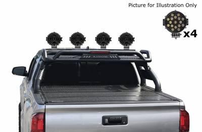 "Black Horse Off Road - J | Atlas Roll Bar | Black | Tonneau Cover Compatible |  W/ Set of 7"" Black LED | ATRB7BK-PLB - Image 4"