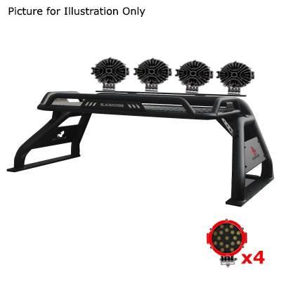 "Black Horse Off Road - J | Atlas Roll Bar | Black | Tonneau Cover Compatible |  W/ Set of 7"" Red LED | ATRB7BK-PLR - Image 4"
