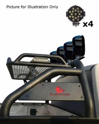 "Black Horse Off Road - J | Atlas Roll Bar | Black | Tonneau Cover Compatible | W/ Set of 7"" Black LED | ATRB10BK-PLB - Image 3"