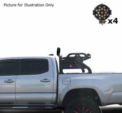 "Black Horse Off Road - J | Atlas Roll Bar | Black | Tonneau Cover Compatible | W/ Set of 7"" Black LED | ATRB10BK-PLB - Image 5"