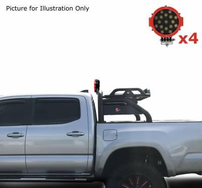 "Black Horse Off Road - J | Atlas Roll Bar | Black | Tonneau Cover Compatible | W/ Set of 7"" Red LED | ATRB10BK-PLR - Image 4"