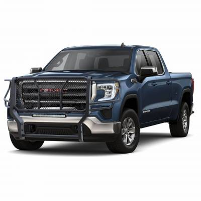Black Horse Off Road - D | Rugged Grille Guard Kit | Black | With 20in Double LED Light Bar | RU-GMSI20-B-K1 - Image 1