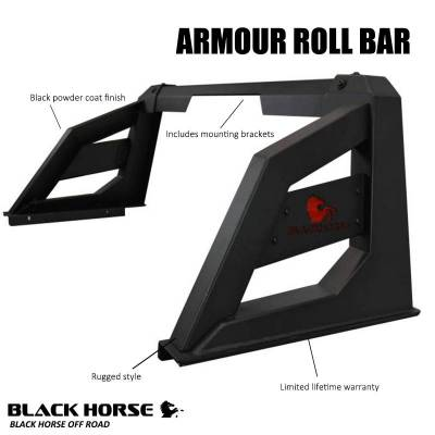 Black Horse Off Road - J | Armour Roll Bar | Black | Compabitle With Most 1/2 Ton Trucks | RB-AR1B - Image 6