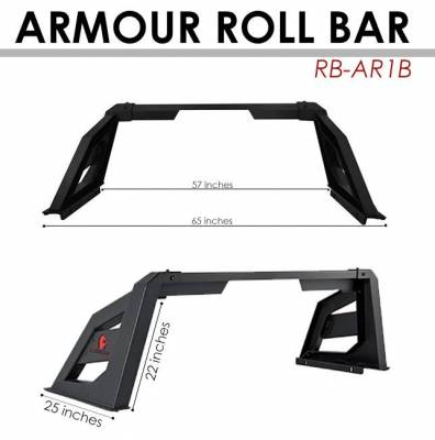Black Horse Off Road - J | Armour Roll Bar | Black | Compabitle With Most 1/2 Ton Trucks | RB-AR1B - Image 5