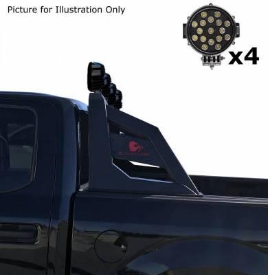 "Black Horse Off Road - J | Armour Roll Bar Kit | Black | with 7"" Black Round LED Lights | RB-AR1B-PLB - Image 6"