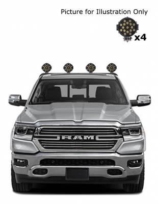 "Black Horse Off Road - J | Armour Roll Bar Kit | Black | with 7"" Black Round LED Lights | RB-AR1B-PLB - Image 2"