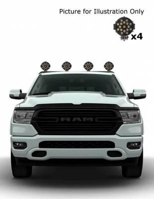 "Black Horse Off Road - J | Armour Roll Bar Kit | Black | with 7"" Black Round LED Lights | RB-AR1B-PLB - Image 3"