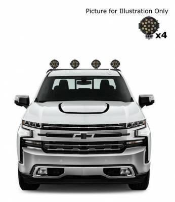 "J | Armour Roll Bar Kit | Black | with 7"" Black Round LED Lights | RB-AR1B-PLB"