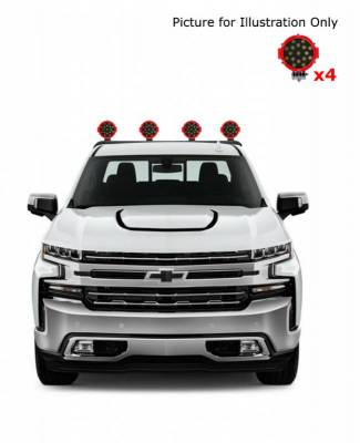 "J | Armour Roll Bar Kit | Black | with 7"" Red Round LED Lights | RB-AR1B-PLR"