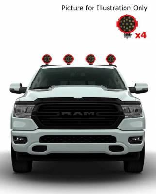 "J   Classic Roll Bar   Black  Tonneau Cover Compatible  W/ Set of 7"" Red LED  RB002BK-PLR"