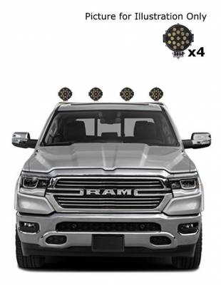 """Black Horse Off Road - J   Classic Roll Bar   Stainless Steel  Tonneau Cover Compatible  W/ Set of 7"""" Black LED  RB002SS-PLB - Image 2"""