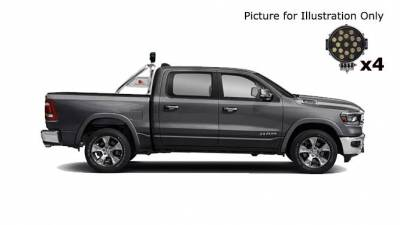 """Black Horse Off Road - J   Classic Roll Bar   Stainless Steel  Tonneau Cover Compatible  W/ Set of 7"""" Black LED  RB002SS-PLB - Image 3"""