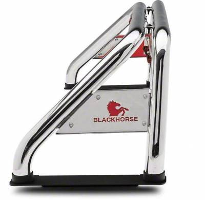 """Black Horse Off Road - J   Classic Roll Bar   Stainless Steel  Tonneau Cover Compatible  W/ Set of 7"""" Black LED  RB002SS-PLB - Image 7"""