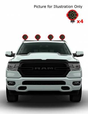 """J   Classic Roll Bar   Stainless Steel  Tonneau Cover Compatible  W/ Set of 7"""" Red LED  RB002SS-PLR"""
