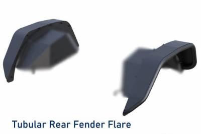 Black Horse Off Road - N | Full Set Tubular Fender Flares & Inner Fender Flares Liners - Front & Rear W/ 2 Daytime Running lights & LED Turn Light | Black |TFFJ-FS - Image 7