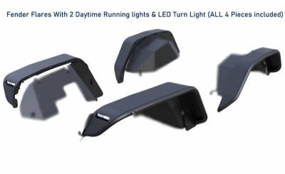 Black Horse Off Road - N   Tubular Fender Flares   4 Pieces   Black   TFFJL - Image 3