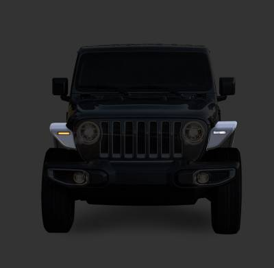 Black Horse Off Road - N | Full Set Tubular Fender Flares & Inner Fender Flares Liners - Front & Rear W/ LED Turn Light , Daytime Running Light and Side Marker| Black |TIFR20G - Image 2