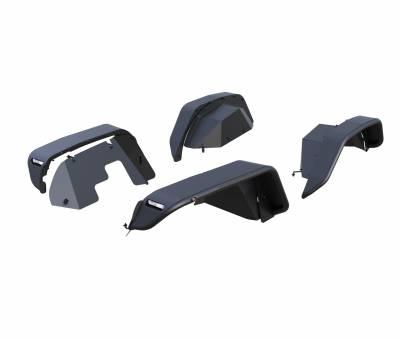 Black Horse Off Road - N | Full Set Tubular Fender Flares & Inner Fender Flares Liners - Front & Rear W/ LED Turn Light , Daytime Running Light and Side Marker| Black |TIFR20G - Image 13
