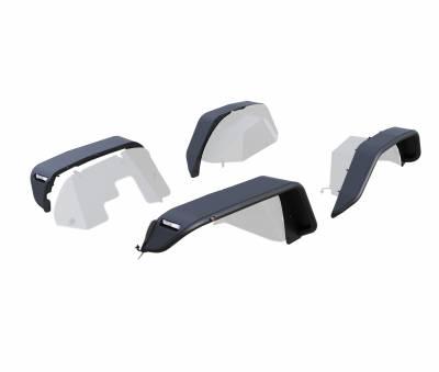 Black Horse Off Road - N   Full Set Tubular Fender Flares - Front & RearW/ LED Turn Light , Daytime Running Light and Side Marker  Black  TFRF20G - Image 3