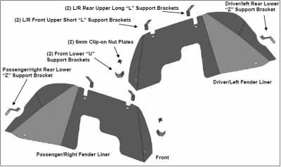 Black Horse Off Road - N   Full Set Inner Fender Flares Liners - Front & Rear  Black  INFR20G - Image 2