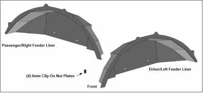 Black Horse Off Road - N   Full Set Inner Fender Flares Liners - Front & Rear  Black  INFR20G - Image 3